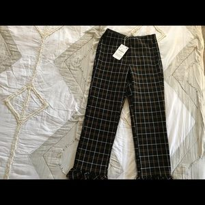 New Zara Plaid Ruffle Bottom Trousers Size S